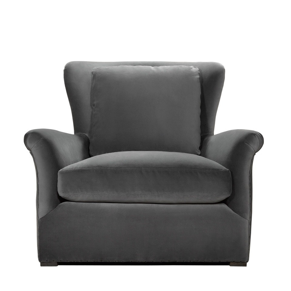 WINSLOW LOUNGE GREY VELVET CHAIR