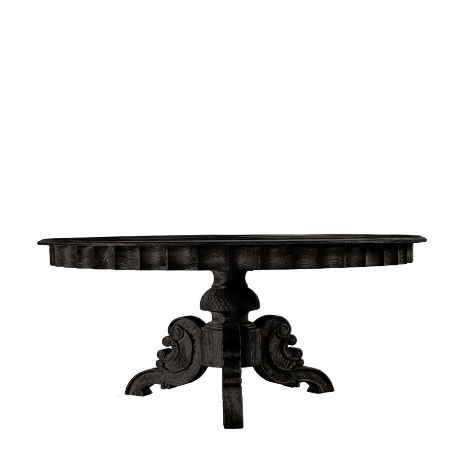 "Элитный стол 63"" FRENCH ROUND ANTIQUE BLACK TABLE"