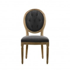 Стул VINTAGE WOOL LOUIS ROUND BUTTON SIDE CHAIR
