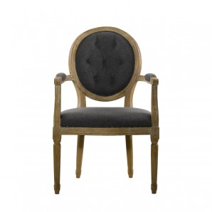 Стул VINTAGE WOOL LOUIS ROUND BUTTON ARM CHAIR