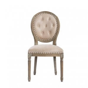 Стул VINTAGE LOUIS LEATHER BUTTON SIDE CHAIR