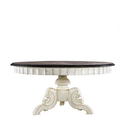 "Стол 63"" French Vintage Black & White Round Table"