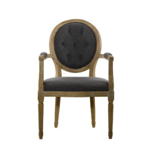 Стул VINTAGE WOOL LOUIS ROUND BUTTON ARM CHAIR-0
