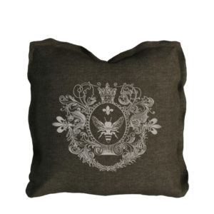 Logo Pillow Brown Linen-0