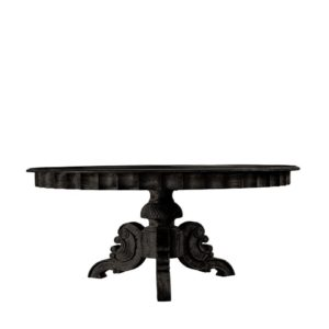 "Элитный стол 63"" FRENCH ROUND ANTIQUE BLACK TABLE-0"