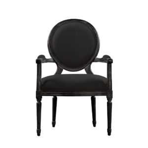VINTAGE LOUIS ANTIQUE BLACK ARM CHAIR-0