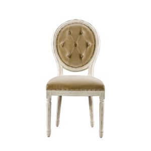 Стул Vintage Louis Round Vintage White Button Side Chair -0